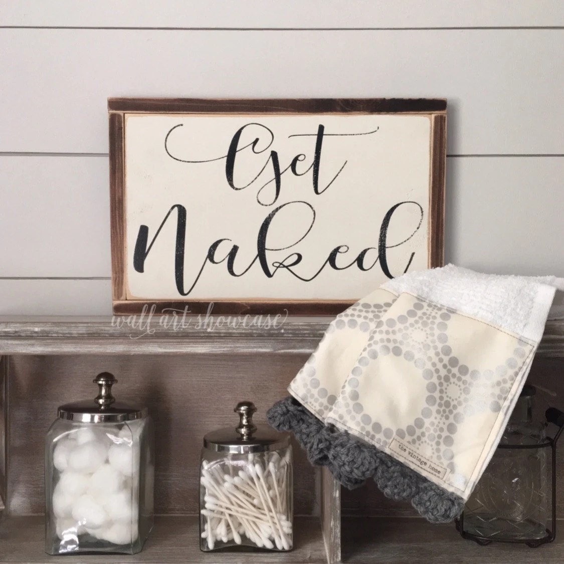 Get Naked Painted Wood Sign Bathroom Decor Distressed