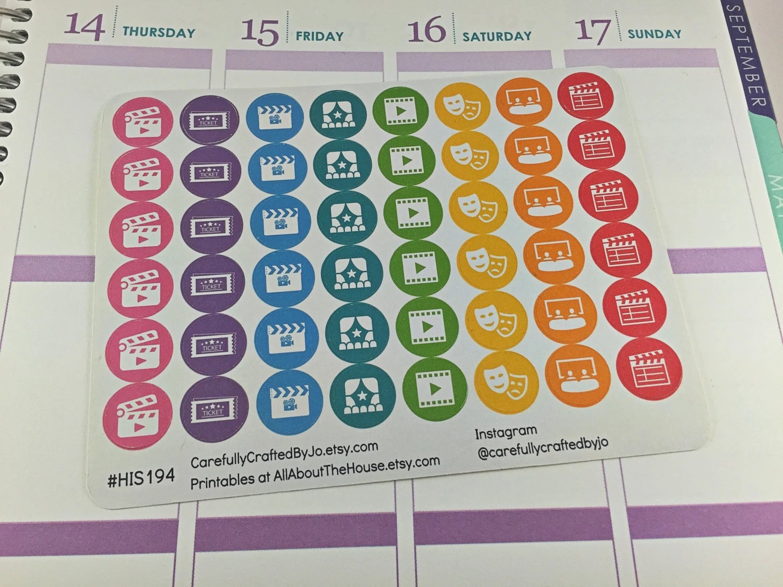 movie planner stickers, film, cinema, activity, family, rainbow stickers, icon stickers, planner stickers, rainbow, functional, mini, round, erin condren, happy planner