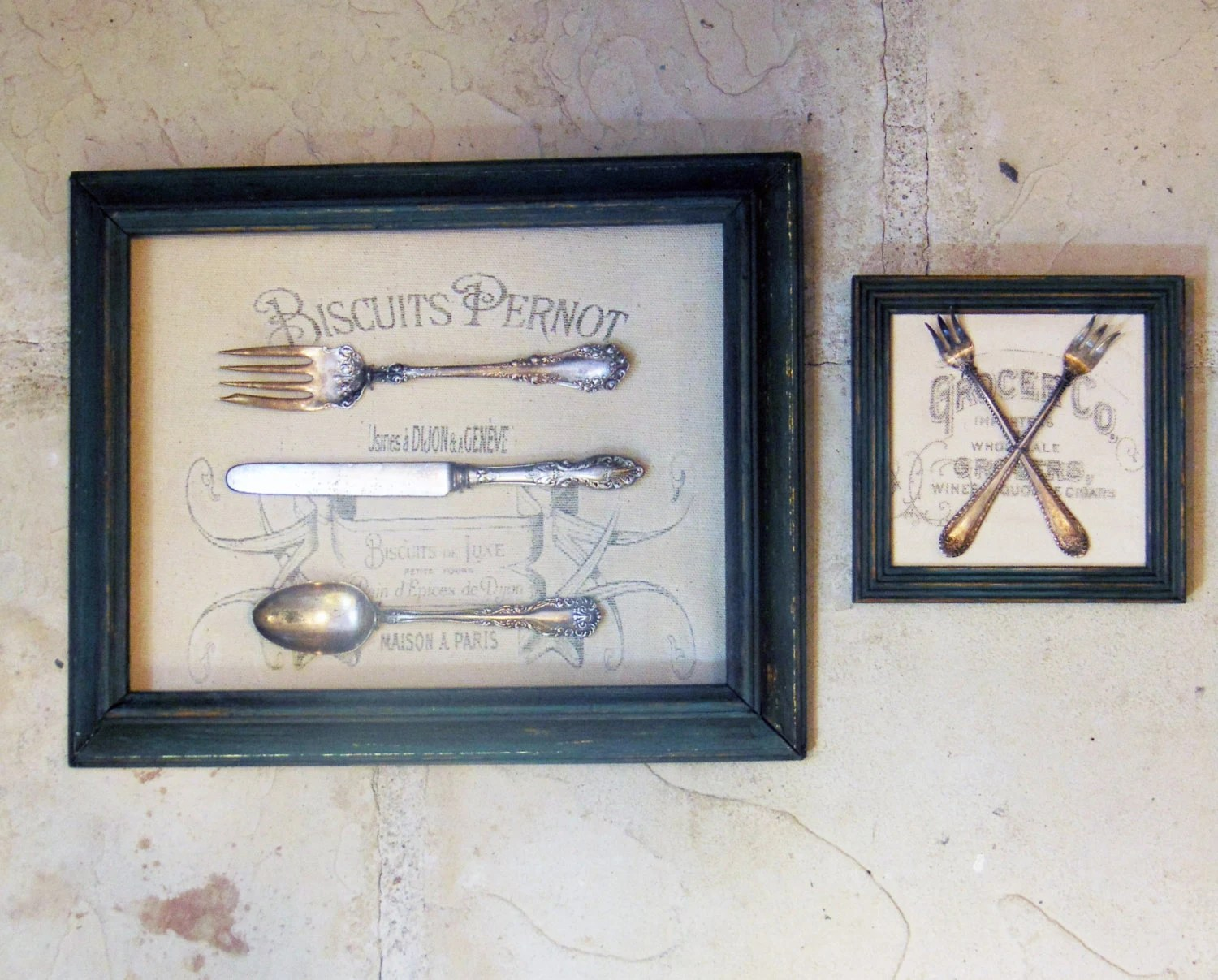 Vintage Framed Silverware Wall Art with Typography