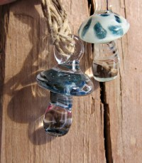 Handmade Lampwork Glass Mushroom Pendants/Necklaces