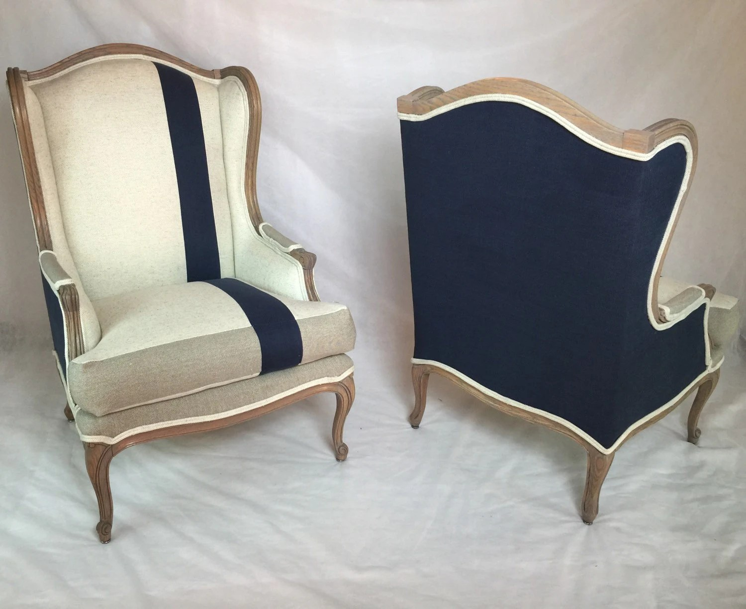 striped wingback chair 10 dining table sold can replicate pair of custom wing back chairs