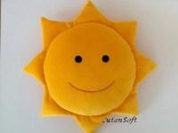 12 Smiling Sun: Stuffed sun Yellow Handmade stuffed