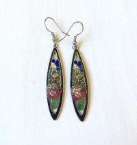 Vintage Cloisonne Floral Earrings // Enamel Earrings //