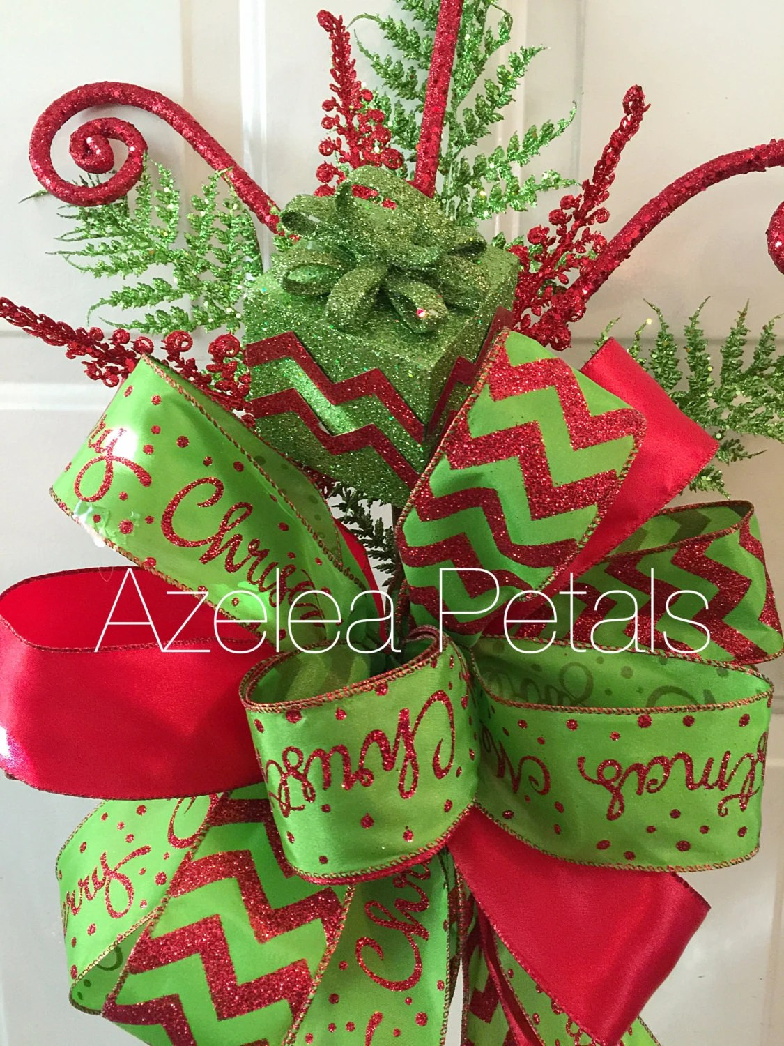 Present Christmas Tree Topper Red and Lime Green by