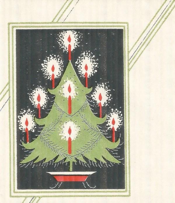 Vintage Art Deco Christmas Tree Candles Card Digital