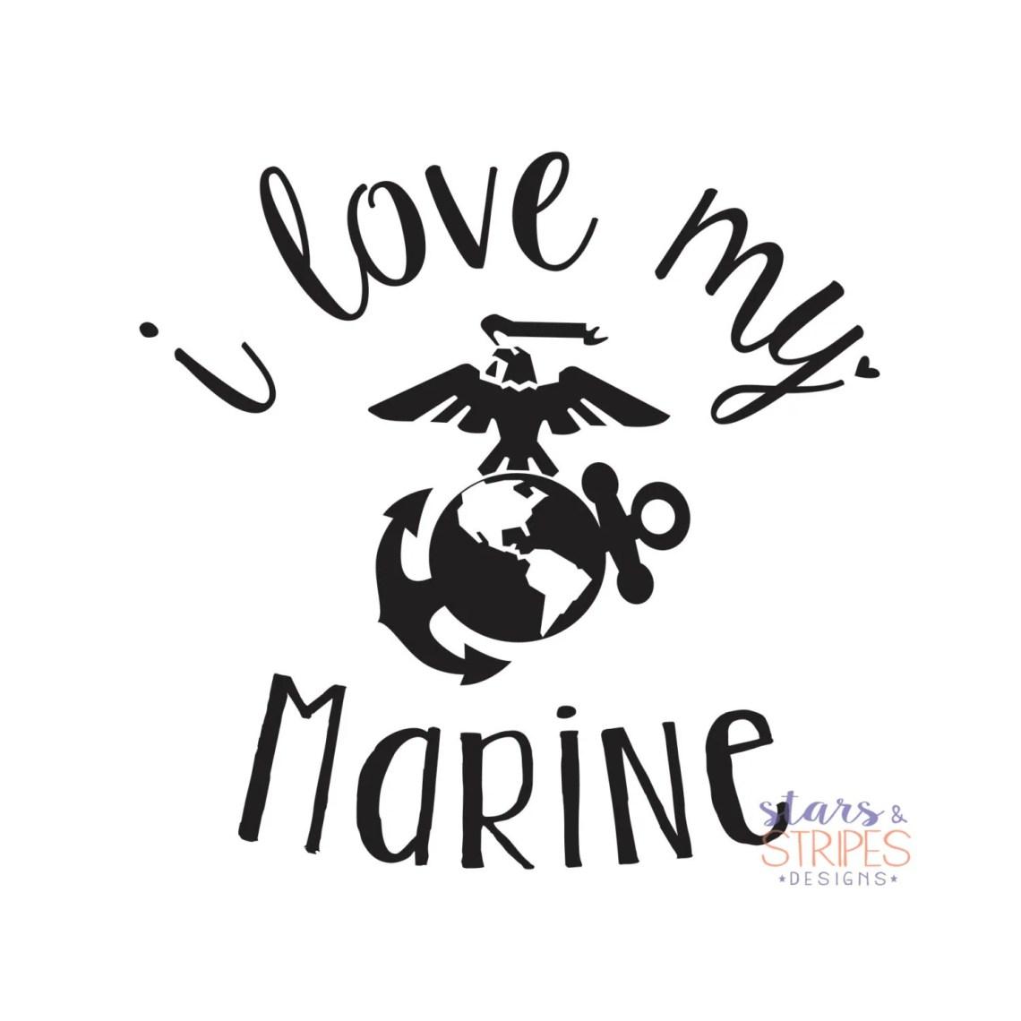 Download I Love My Marine Love Decal. USMC Hero America Patriotic.
