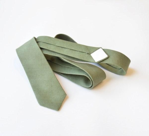 Sage Green Linen Skinny Tie Mens Neck