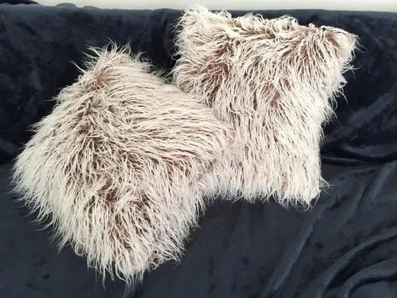 Faux Fur pillow CREAM BEIGE Shag pillow Faux by SunnyHomeStory