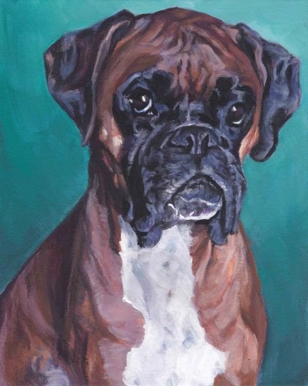 Boxer Dog Art Canvas Print Of La Shepard Painting 8x10