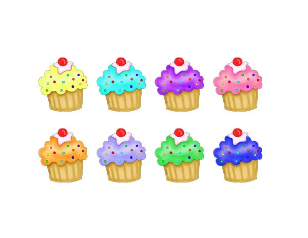 cupcake clipart multi colored cupcakes