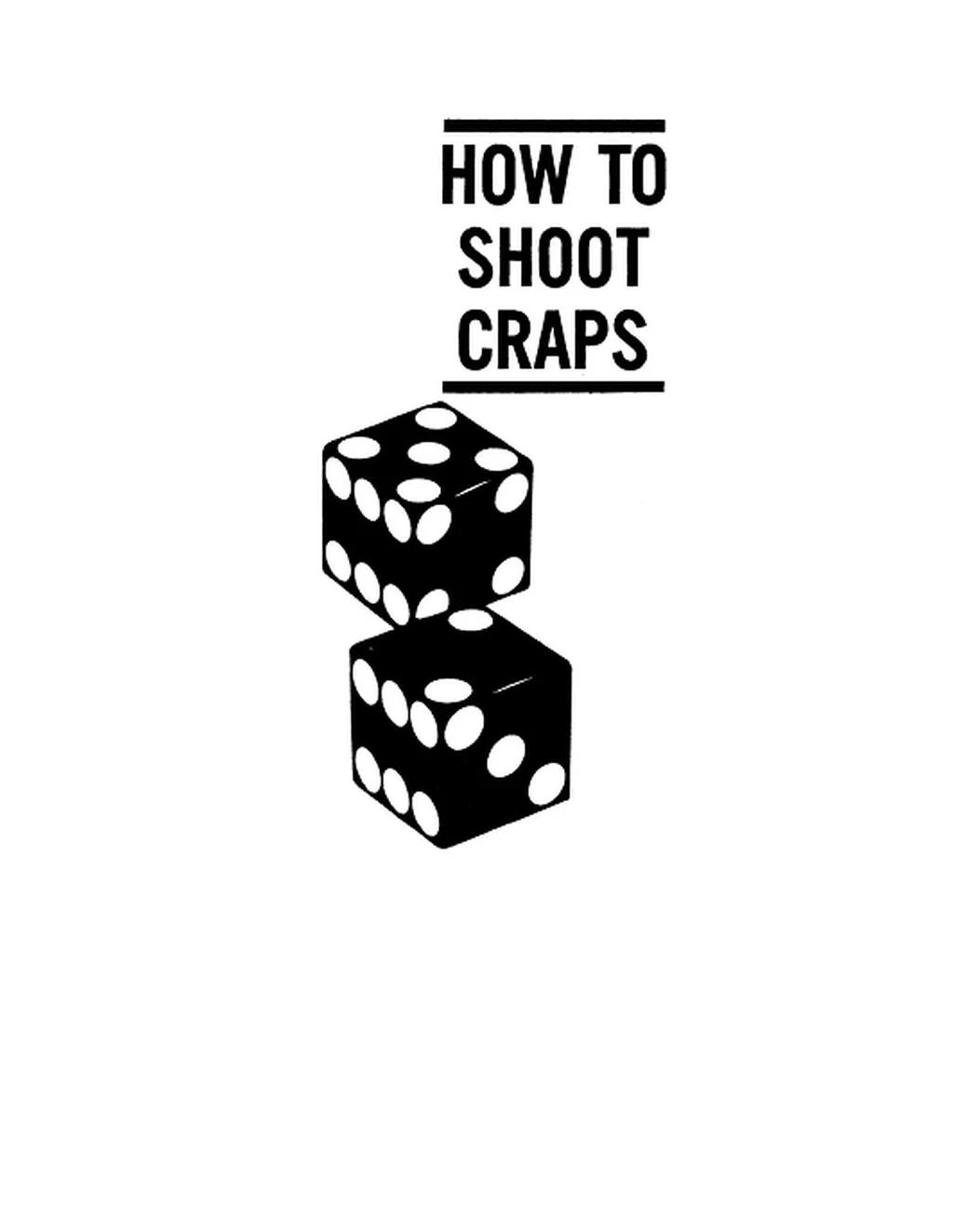 CRAPS How To Shoot Craps Book PDF Electronic Download 1962