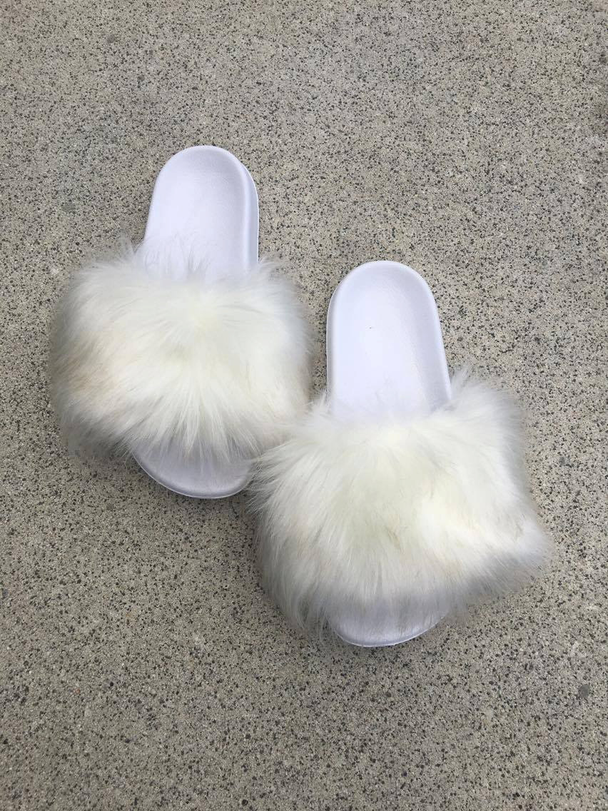 SL Fluffy Slides Name Lily Color White Faux Fur Slippers