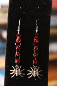 Black and Red Spider Earrings