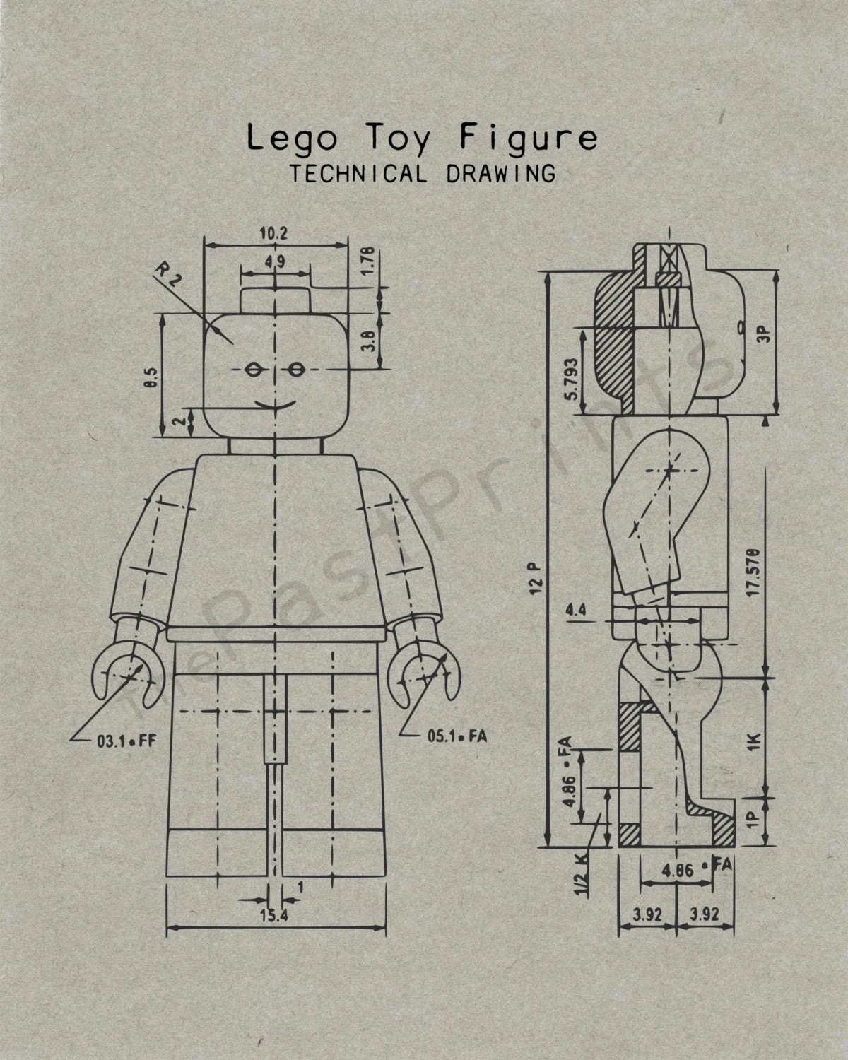 Lego Printable Lego Figure Techincal Drawing Lego Art