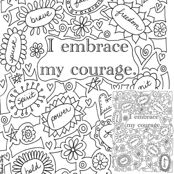 I Embrace My Courage Printable Coloring Page Instantly | printable courage quotes coloring pages