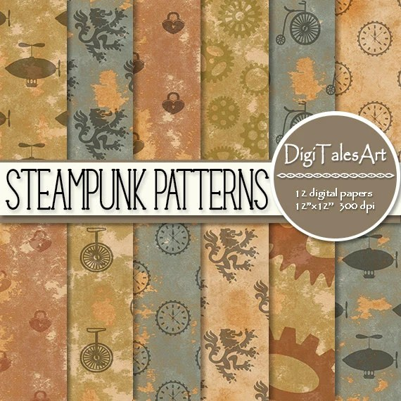 STEAMPUNK PATTERNS Digital Scrapbooking Background Papers
