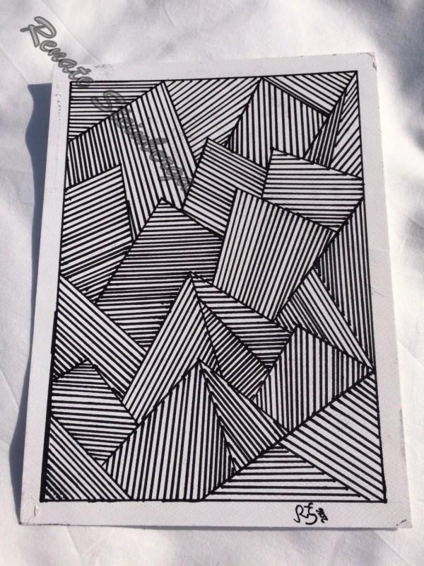 Sharpie Art Abstract Line Original Drawing 7x9