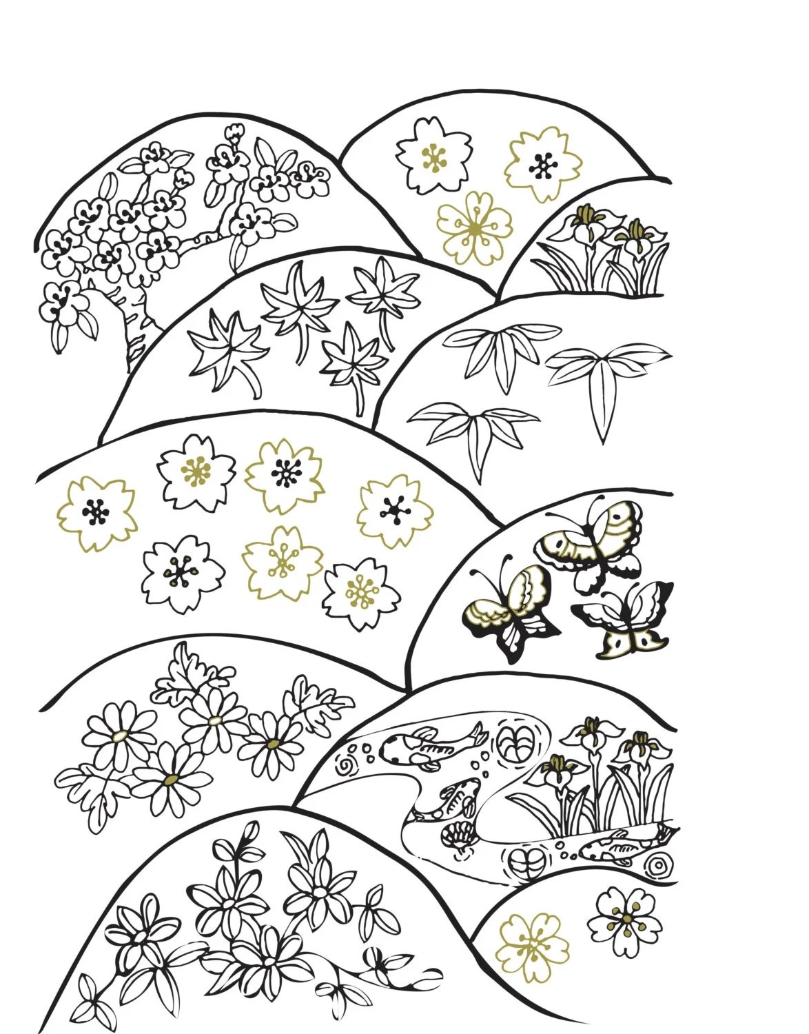 Items similar to Black, White and Gold Coloring Pages