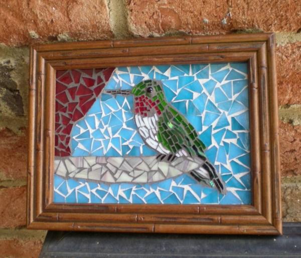 Framed Stained Glass Mosaic Hummingbird Wall Art
