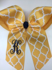 yellow hair bow monogram girls