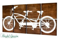Dark Wood Tandem Bike Wall Art Large Bicycle Screen by ...