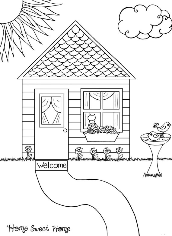 Items similar to Home Sweet Home Adult Coloring Page on Etsy