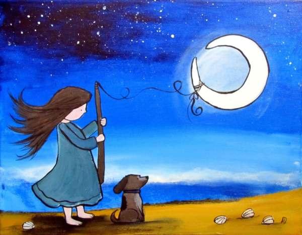 Original Nursery Art Whimsical Girl Catching Moon Beach