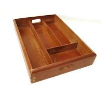 Vintage Dovetail Box Wooden Tray Silverware Holder Flatware