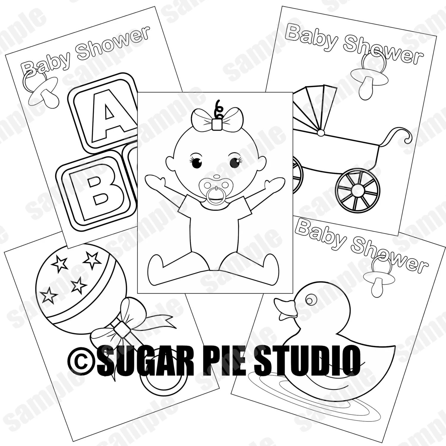 Baby shower coloring pages baby girl party favor kids table