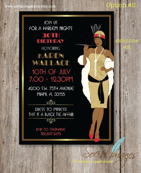 Harlem Nights Birthday Party Invitations