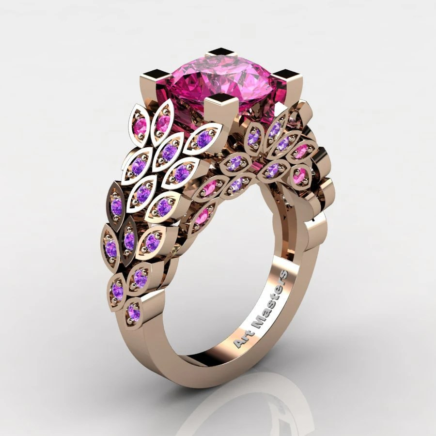 Art Masters Nature Inspired 14K Rose Gold 30 Ct Pink Sapphire