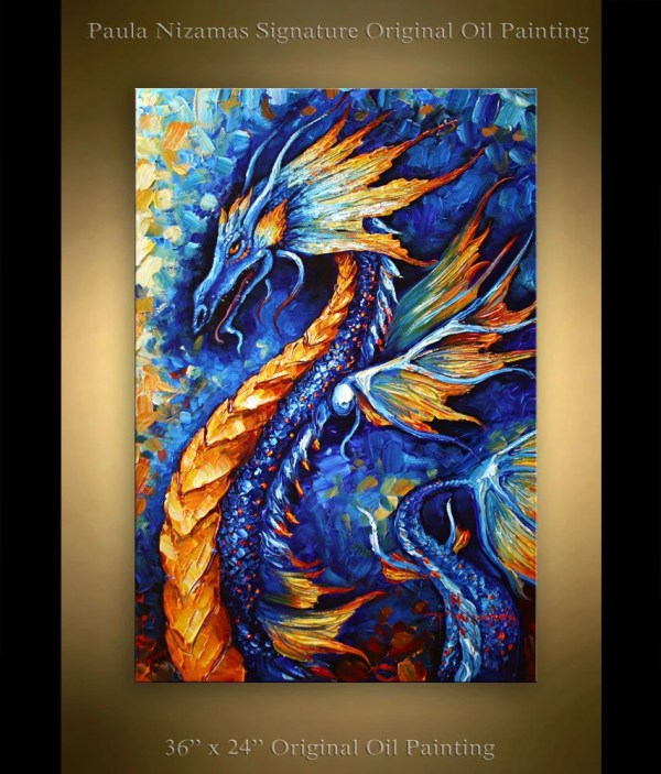 Dragon Painting Abstract Art 36 X 24 Animal