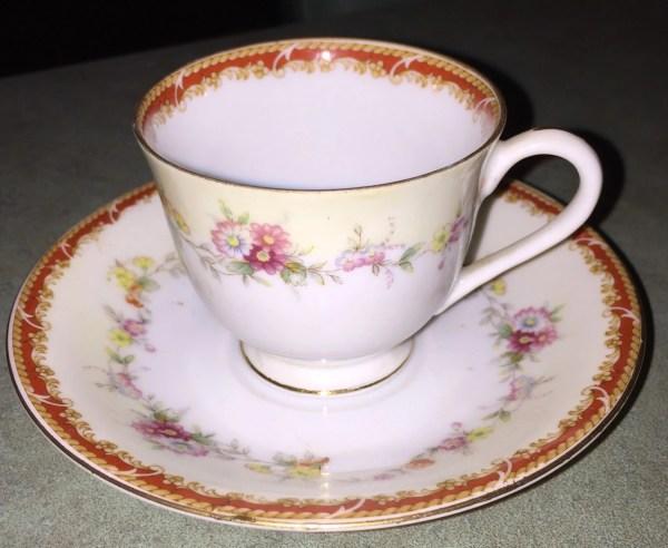 Cherry China Demitasse Set Cup And Saucer Miniature Tea