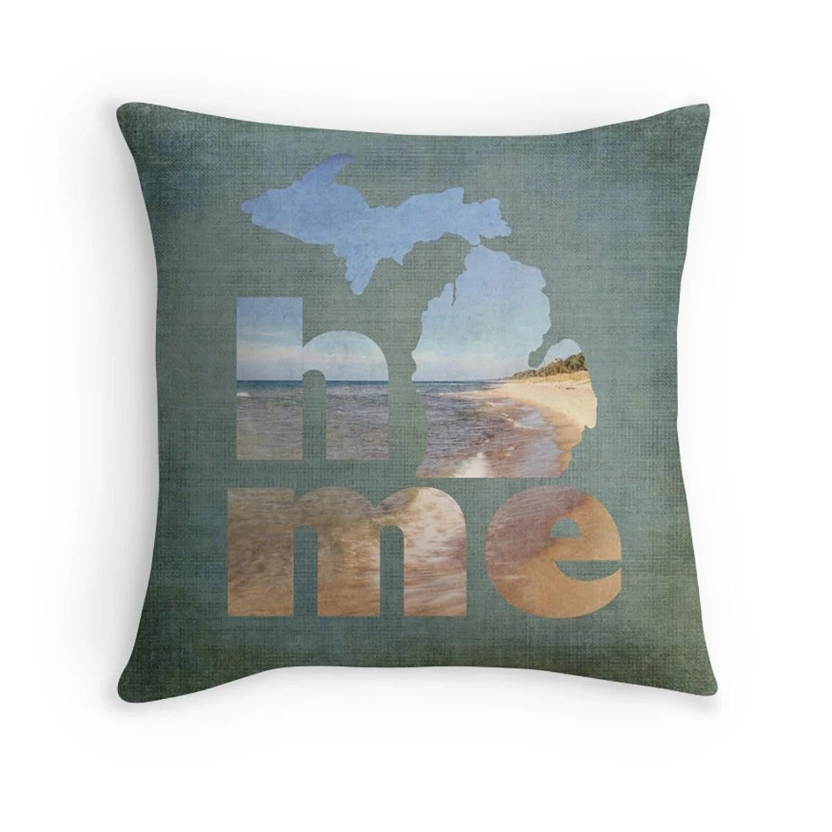 Michigan Home Pillow Cover Lake Michigan Pillow Cover