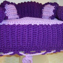Crochet Sofa Cover Patterns Beds San Diego Style Tissue Box Handmade In Deep Purple