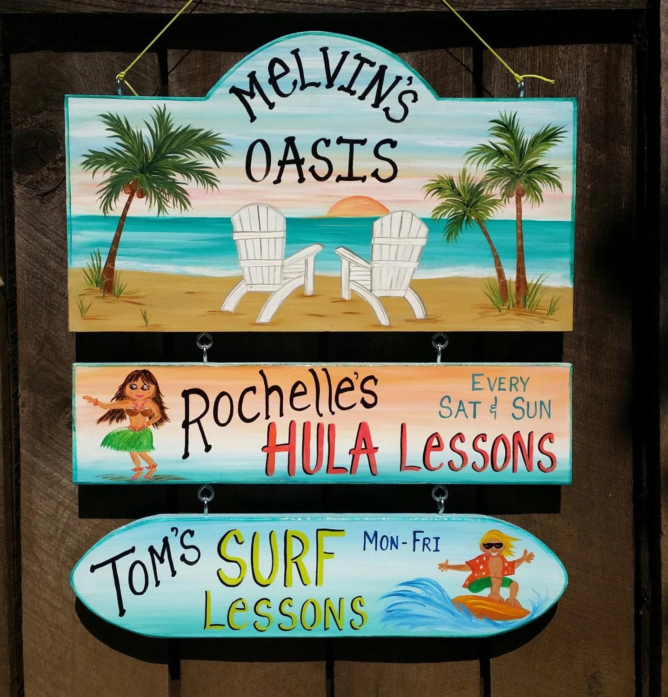 Custom Pool Oasis Backyard Sign Yard Beach Summer Sign