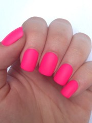 matte nails hot pink neon