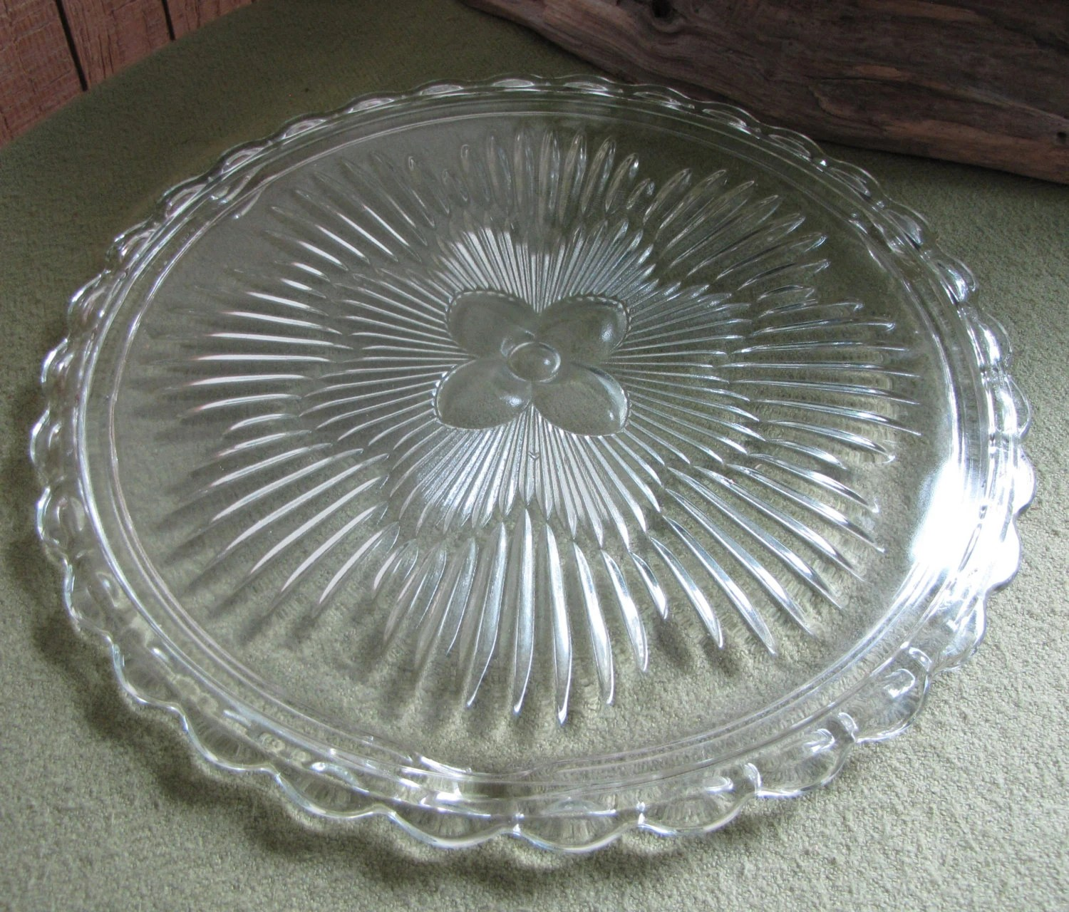 Crystal Cake Plate Indiana Glass Co Dunkirk In 3355
