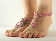 Peace Barefoot Sandals Hemp Jewelry Pink