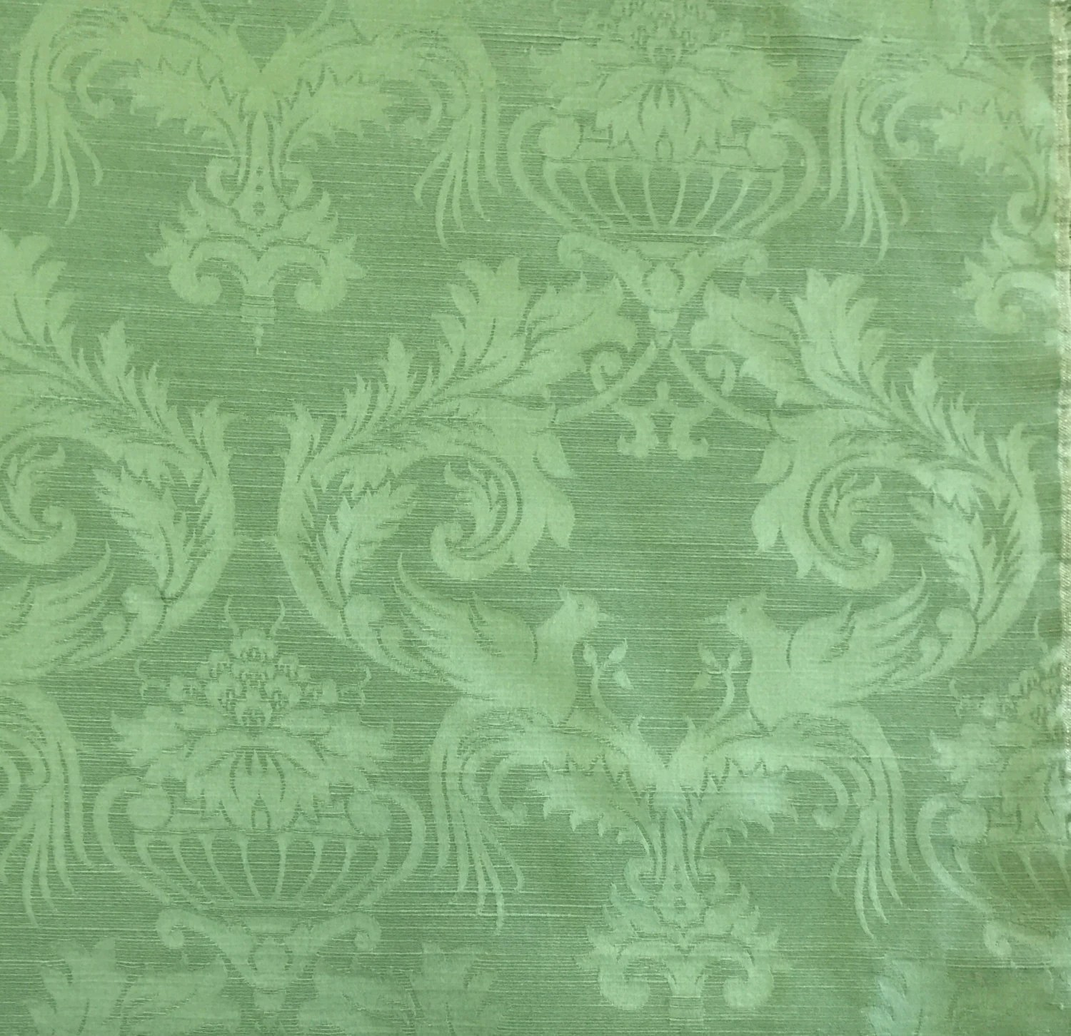 Tone On Tone Green Damask Upholstery Fabric By The Yard