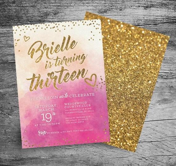 thirteenth birthday party invitations