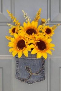 Sunflower Door Decor Spring Door Hanger by WallflowersbyKerri