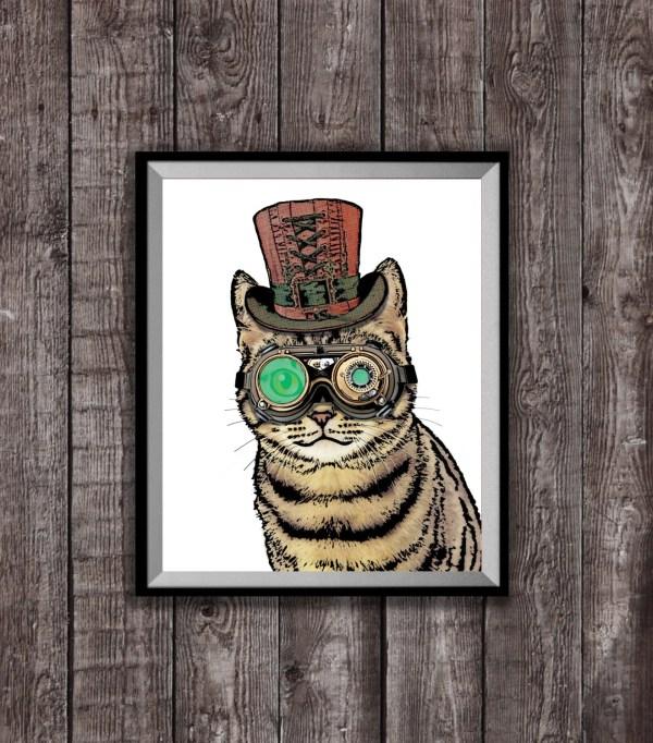 Steampunk Cat Art Print