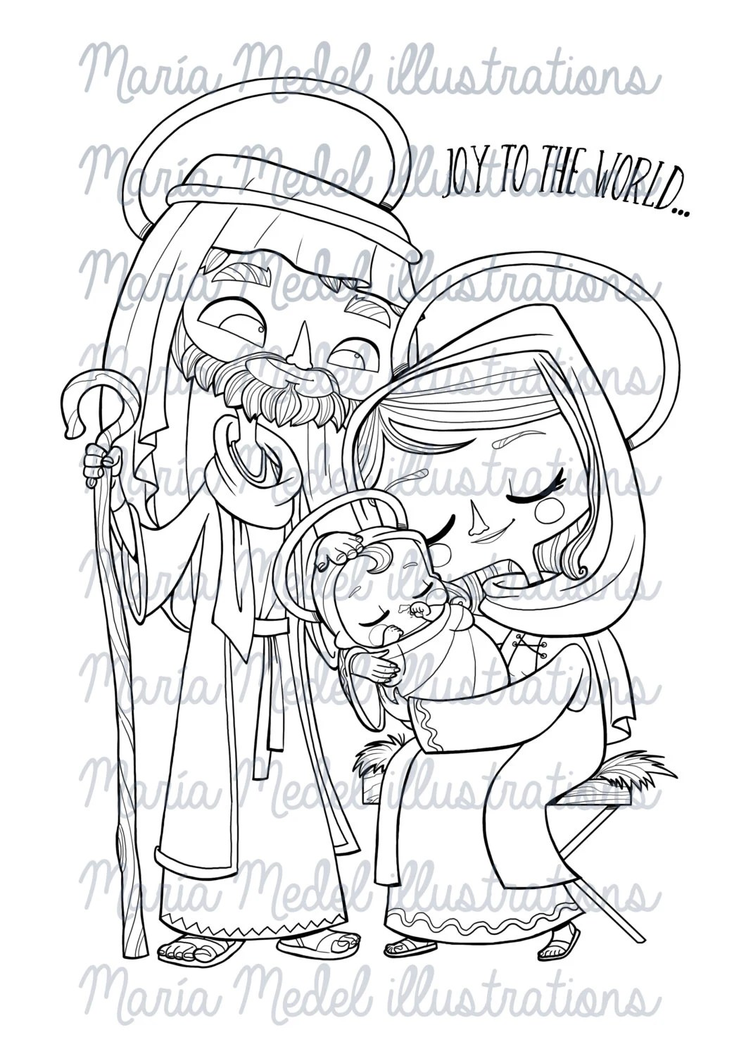 Christmas Digital Stamp Coloring page. Holy Family. Instant