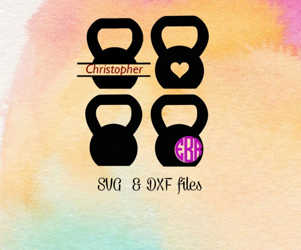Kettlebell Svg Cut Files Gym Crossfit Monogram Fitness