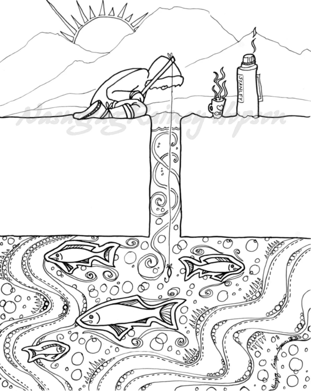 Ice Fishing hand drawn Alaska Native coloring page