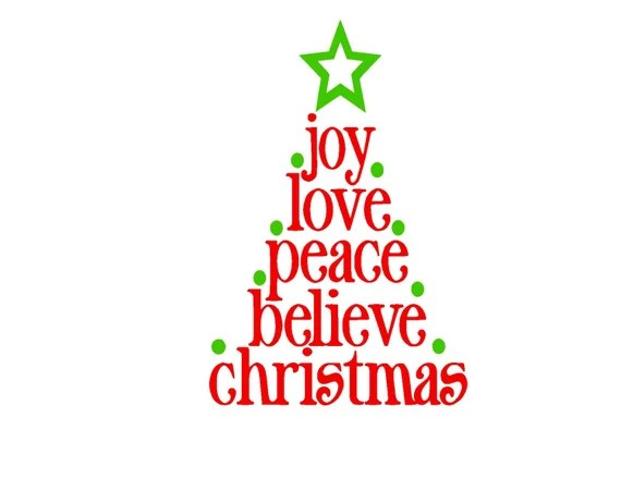 Download Joy Love Peace Believe Christmas Script SVG or Silhouette