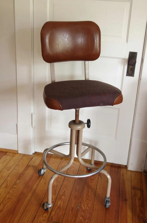 Vintage Industrial Drafting Stool Brown Machine Age Chair