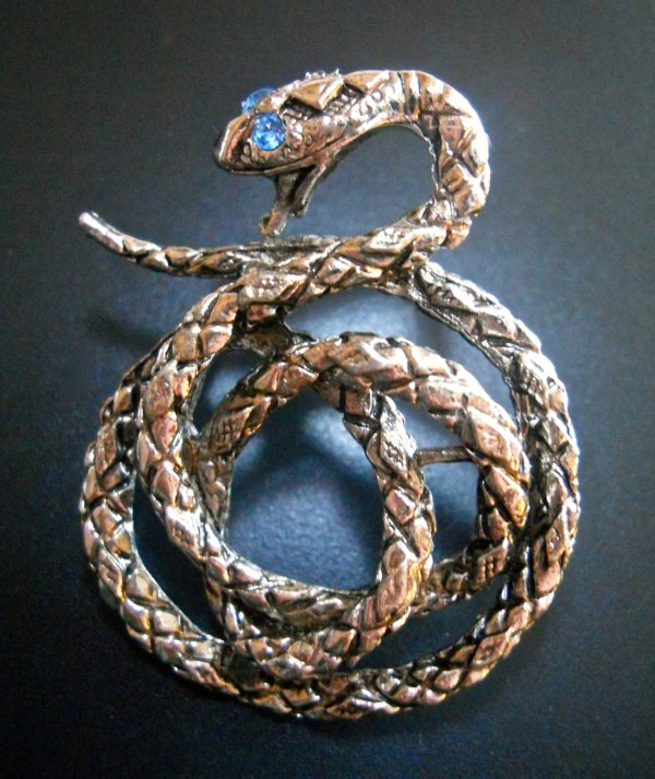 Snake Lapel TieTack Pin Antique Silver Tone by