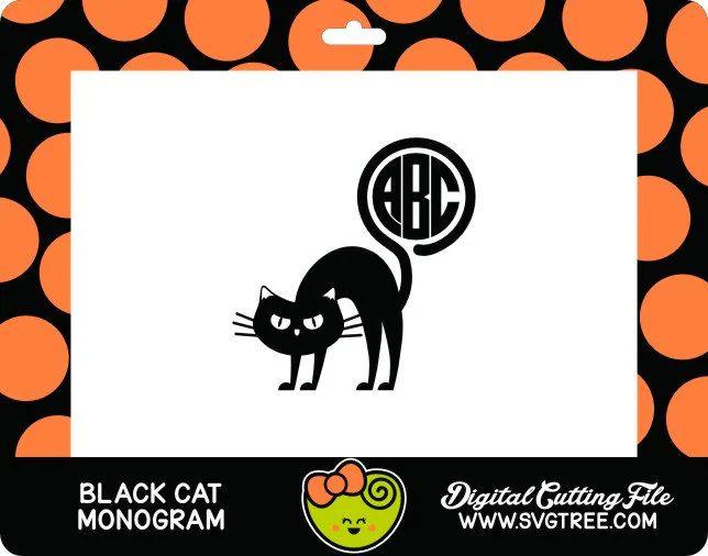 diy black cat monogram halloween shirt